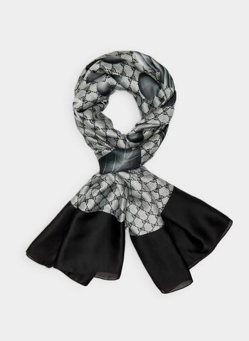 Petal Print Scarf, Grey,  rose, floral print, fall 2019, winter 2019