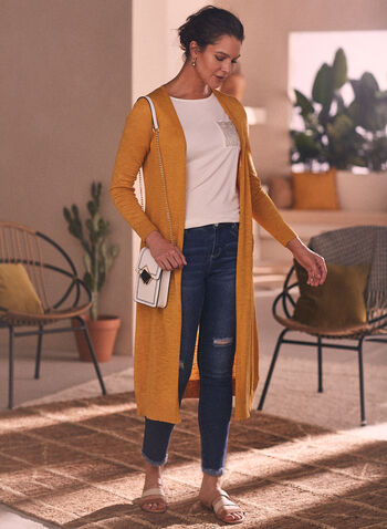 Open Front Duster Cardigan, Yellow,  cardigan, long, duster, pockets, spring summer 2021