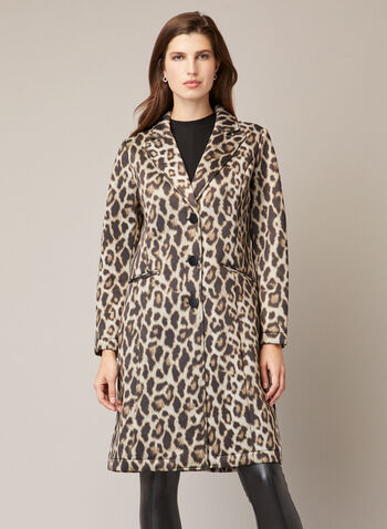 Leopard Print Notched Collar Coat, Black,  coat, leopard print, notched collar, fall winter 2020