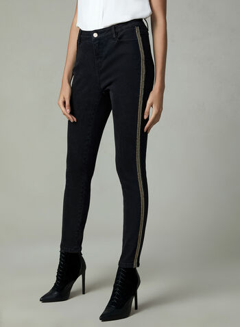 Slim Leg Jeans With Metallic Trim, Black, hi-res