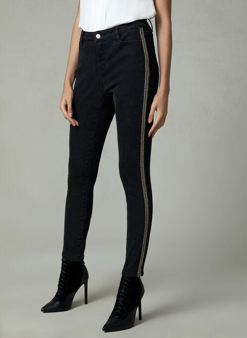 Slim Leg Jeans With Metallic Trim, Black, hi-res