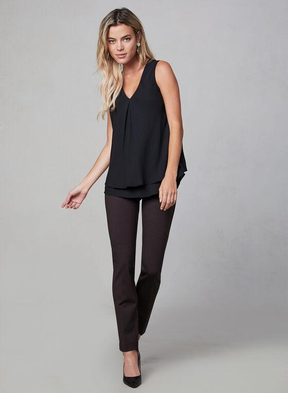 Pantalon coupe Madison motif pied-de-poule, Noir, hi-res