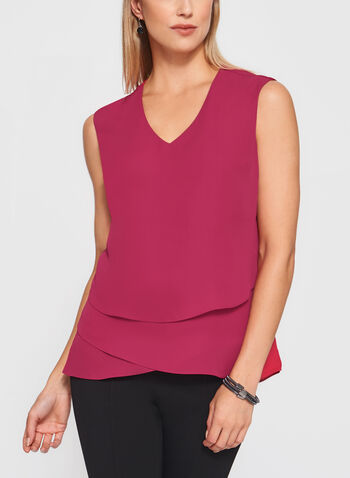Sleeveless Triple Layer Blouse, Pink, hi-res