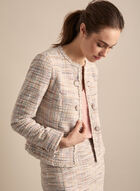 Open Front Knit Blazer , White