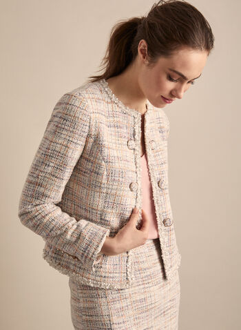 Open Front Knit Blazer , White,  blazer, chanel, buttons, long sleeve, kint, open front, spring 2020