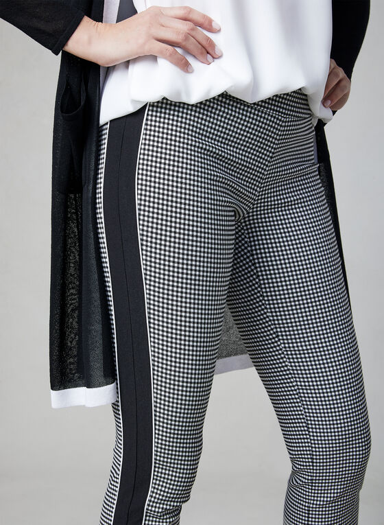 Gingham Print Capri Pants, Black, hi-res