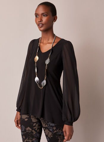 Chiffon Sleeve Tunic Blouse, Black,  top, tunic, chiffon, balloon sleeves, v-neck, high low, fall winter 2020