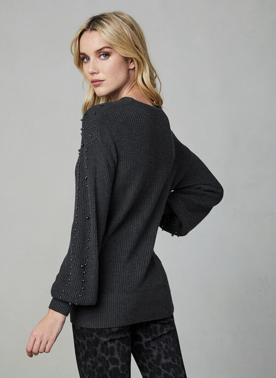 Pearl Detail Sweater, Grey