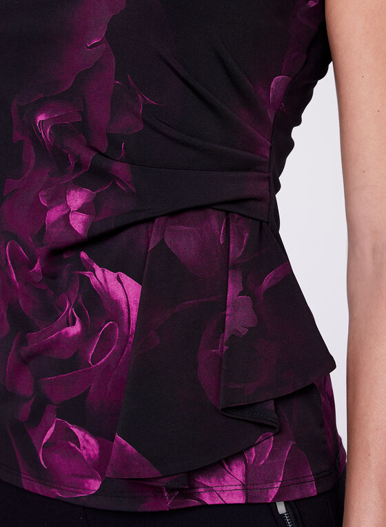Floral Print Side Drape Top, Red, hi-res