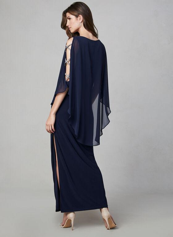 Xscape - Robe poncho à détails strass, Bleu, hi-res