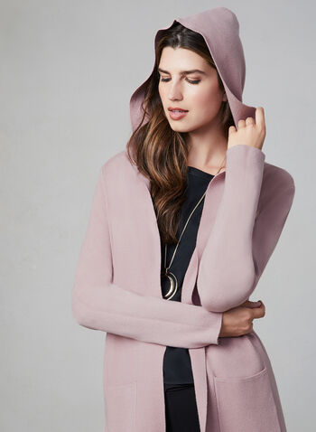 Frank Lyman - Long Cardigan With Hood, Pink,  long sleeves, open front, hood, cardigan, patch pockets, knit, fall 2019, winter 2019