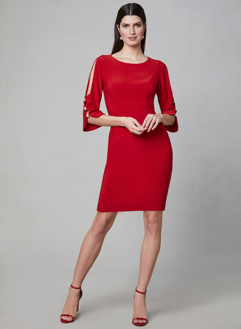 Joseph Ribkoff - Pearl Detail Sheath Dress, Red, hi-res