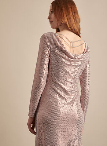 Frank Lyman - Cowl Back Sequin Dress, Silver,  dress, cocktail, sequins, stretchy, chain, crystal, cowl, sheath, spring summer 2020