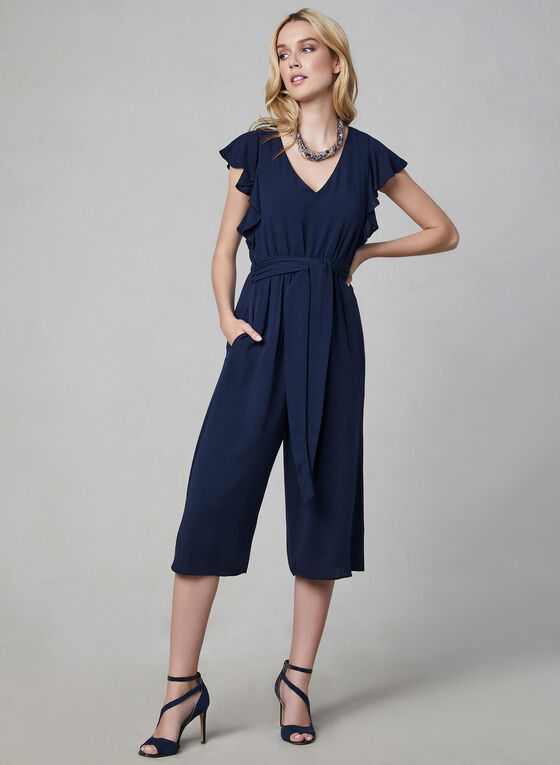 Kensie – Ruffled Cap Sleeve Cropped Jumpsuit, Blue