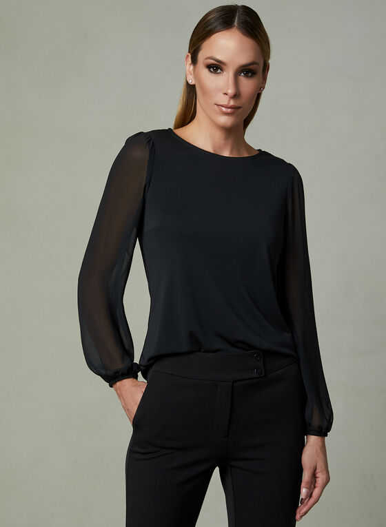 Chiffon Sleeve Blouse, Black, hi-res