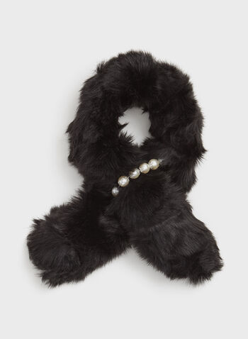 Faux Fur Pearl Scarf, Black, hi-res