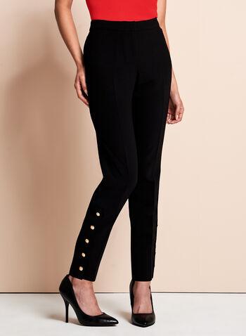 Pantalon à jambe droite avec boutons décoratifs, Noir, hi-res