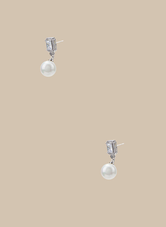 Pearl Dangle Earrings, Off White