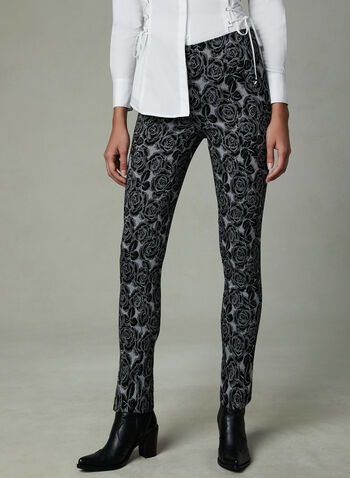 Rose Print Slim Leg Pants, Black, hi-res