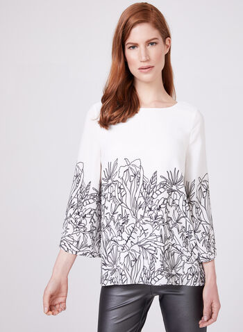 Bell Sleeve Chiffon Blouse, White, hi-res