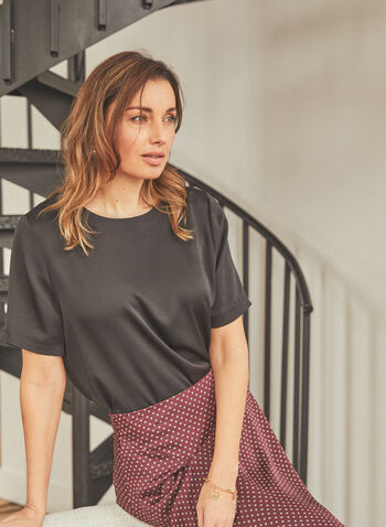 Vince Camuto - Short Sleeve Blouse, Black,  top, blouse, short sleeves, keyhole, round neck, satin, textured, spring summer 2021