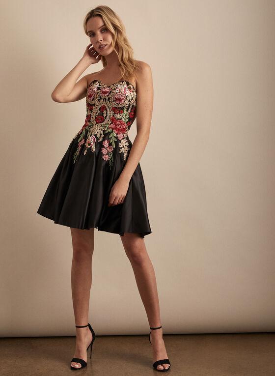 Blondie Nites - Embroidered Bustier Cocktail Dress, Black