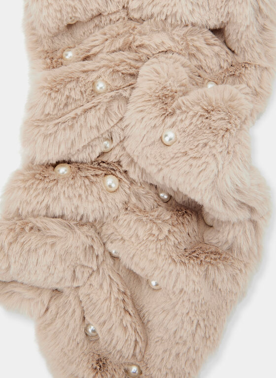 Pearl Embellished Plush Scarf, Off White, hi-res