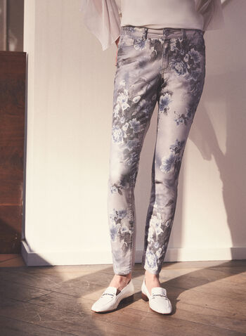 Floral Print Slim Leg Jeans, Blue,  jeans, denim, cotton, stretchy, floral, slim leg, pockets, spring summer 2021