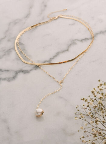 Pearl Pendant Y Necklace, Off White,  jewellery, accessories, earrings, pendant, dangle, pearl, chain, gold, spring summer 2021