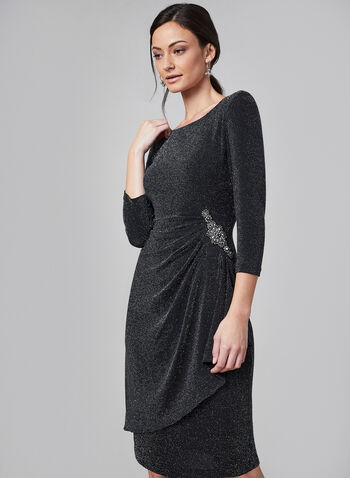 Alex Evenings - Glitter Sheath Dress , Black, hi-res,  dress, sheath, glitter, boat neck, 3/4 sleeve, open back, embellished brooch, fall 2019