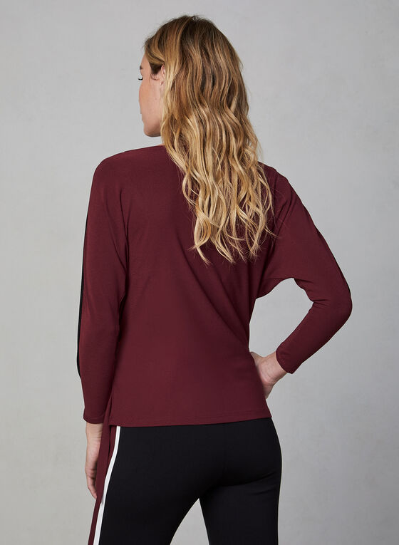 Contrast Piping Crepe Top, Red, hi-res