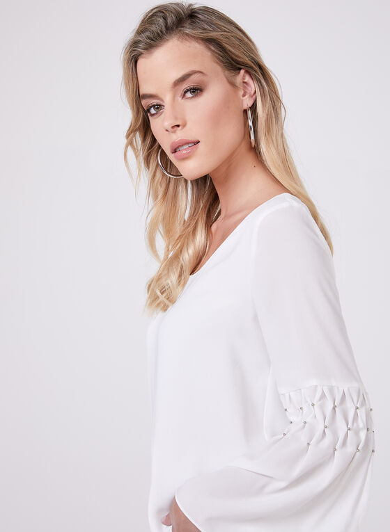 Bell Sleeve Chiffon Top, Off White, hi-res