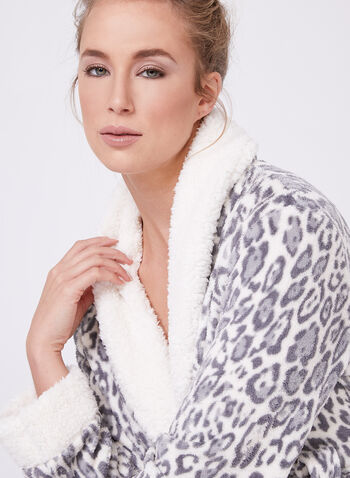 Leopard Print Bathrobe , Off White, hi-res