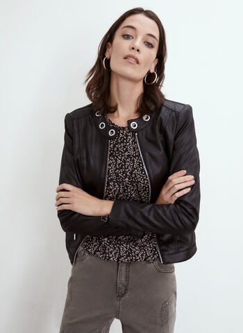 Eyelet Detail Motorcycle Jacket, Black,  fall 2021, made in Canada, jacket, layer, motorcycle jacket, moto, motrcycle, leather, vegan leather, online exclusive, made in Canada, round neck, grommet, eyelet, long sleeve, front zip, zip front, pockets, cropped, cropped jacket