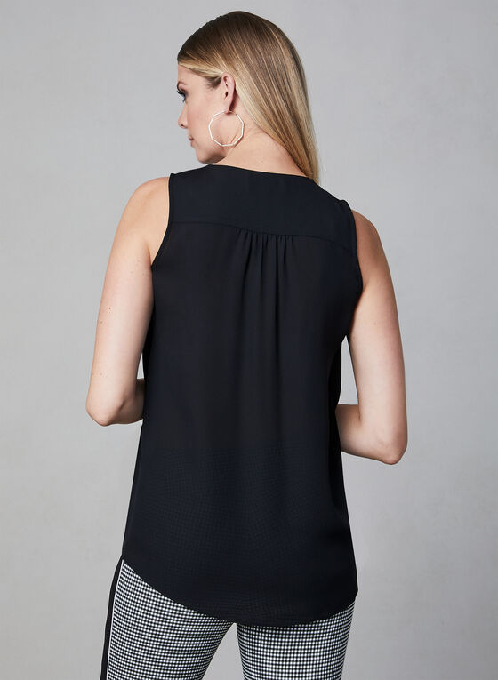 Tie Detail Sleeveless Top, Black, hi-res