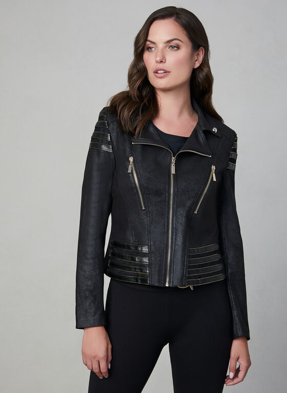 Frank Lyman - Faux Leather Motto Jacket, Black