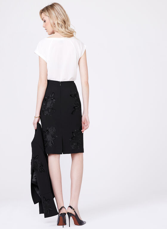 Tahari – Embroidered Crepe Pencil Skirt, Black, hi-res