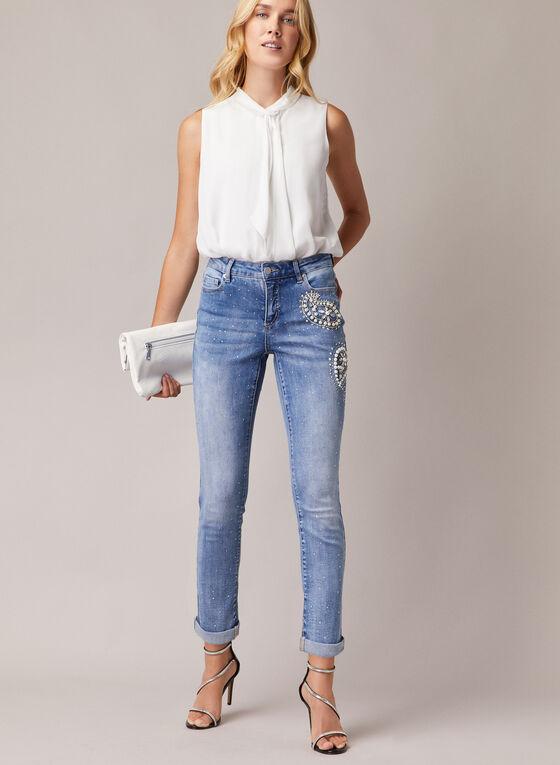 Pearl & Rhinestone Detail Jeans, Blue