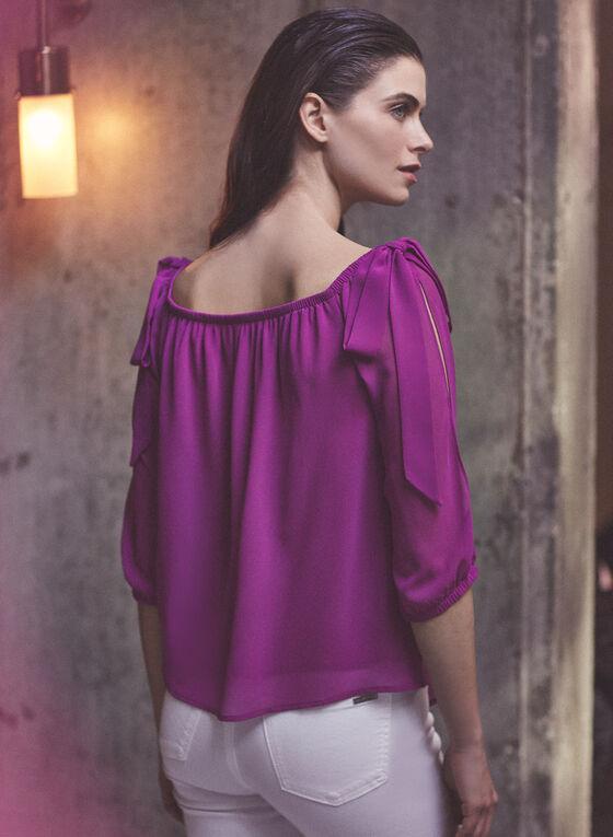 Bardot Neckline Slit Sleeve Top, Red