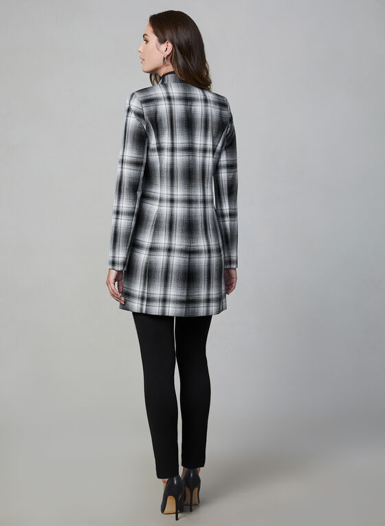 Plaid Print Redingote Jacket, Black