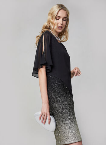 Frank Lyman - Chiffon Overlay Glitter Dress, Black,  canada, glitter, glitter dress, metallic dress, metallic, rhinestone dress, rhinestones, chiffon, chiffon dress, evening dress, cocktail dress, short dress, fall 2019, winter 2019