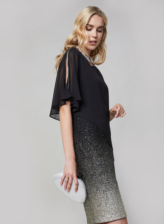 Frank Lyman - Chiffon Overlay Glitter Dress, Black