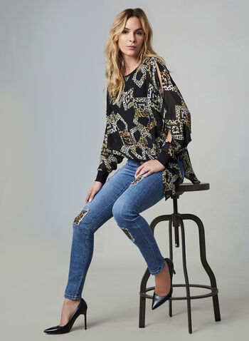 Joseph Ribkoff - Leopard Patch Jeans, Blue,  fall winter 2019, jeans, denim, stretchy, straight leg