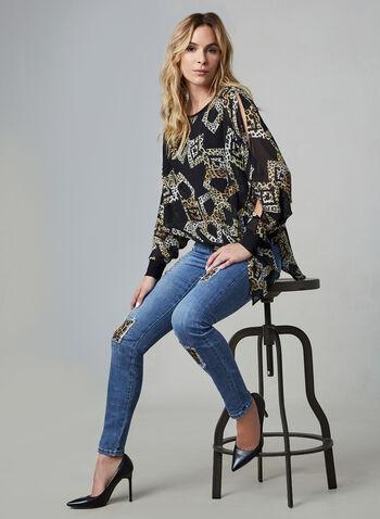 Joseph Ribkoff - Jeans à détails léopard et cristaux, Bleu,  jeans, motif léopard, jambe droite, cristaux, ourlet retroussé, coton, automne hiver 2019