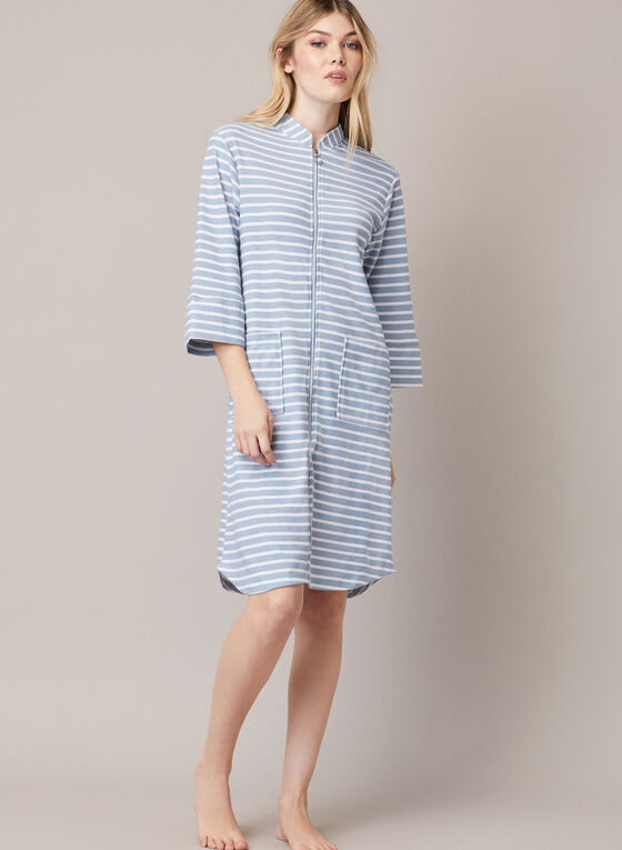 Printed Front Zip Robe, Blue