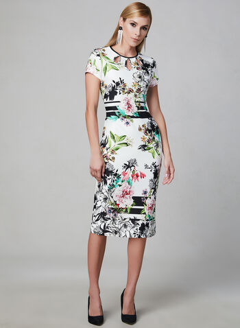 Floral Print Sheath Dress, White, hi-res