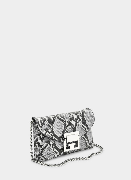 Snakeskin Print Two-in-One Bag, Grey