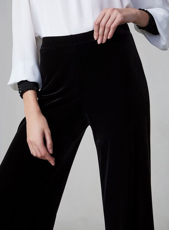 Wide Leg Velvet Pants, Black, hi-res