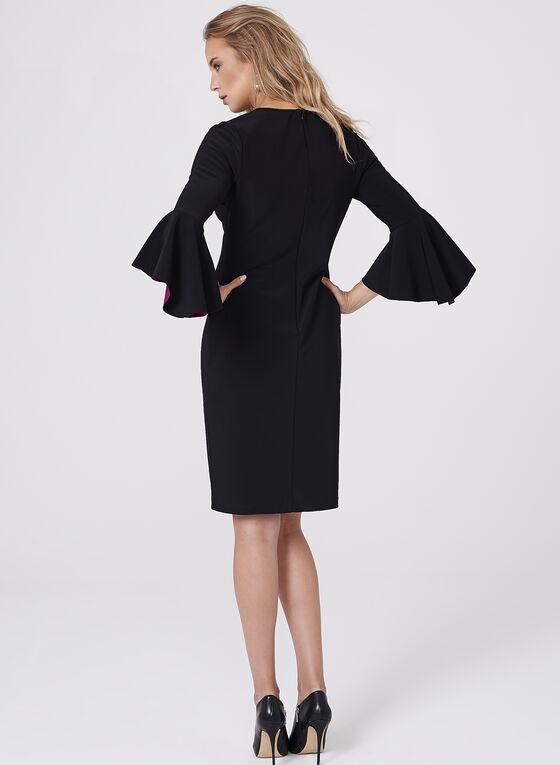 Cachet - Two-Tone Ruffle Sleeve Dress, Black, hi-res