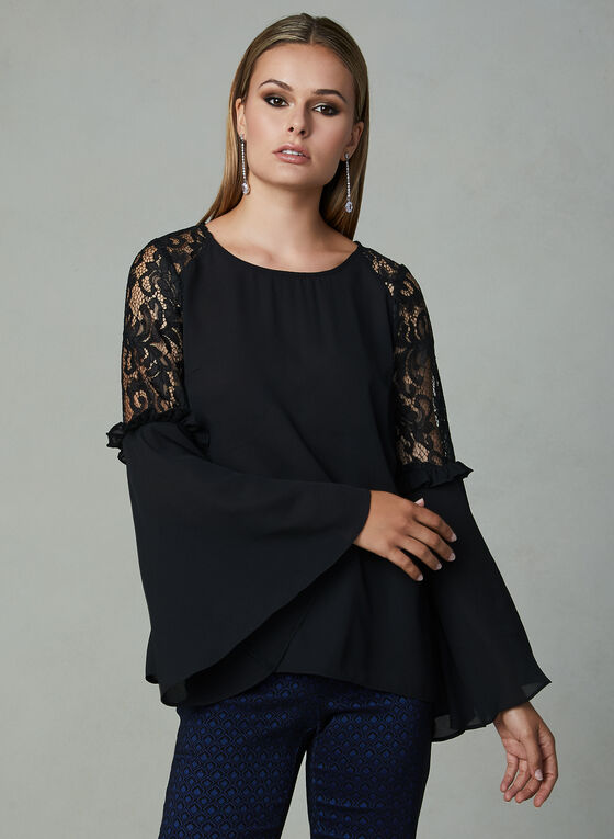Bell Sleeve Crepe Blouse, Black, hi-res